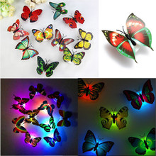 Lovely Creative Color Changing ABS Butterfly LED Night Lights Lamp Beautiful Home Decorative Wall Nightlights Random(China (Mainland))