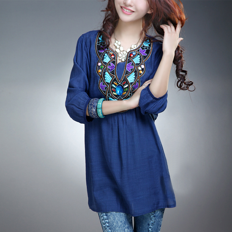The 2015 women's cheap plus size dresses casual flax retro plain embroidery stitching shirt skirt(China (Mainland))