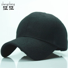 2015 new solid men's wool baseball cap winter cap warm bone snapback hat gorras fitted hats for women(China (Mainland))
