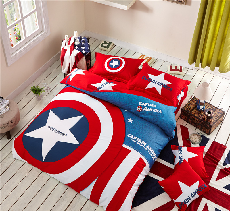 2015 Cotton Reactive printing cartoon Superman 4 PC set Children Bed Sets quilt cover & flat sheet & pillowcase & bed cover(China (Mainland))