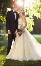 2015 Free Shipping Wedding Dress Long Train Appliques Casamento A Line Vestidos De Noiva Bridal Gown New Arrival YH146(China (Mainland))