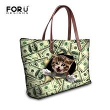 Buy FORUDESIGNS Cute Cat Printed Women Handbag Tote Shoulder Bags Large Capacity Ladies Handbag Female Casual Cross-body Bags Mujer for $21.99 in AliExpress store