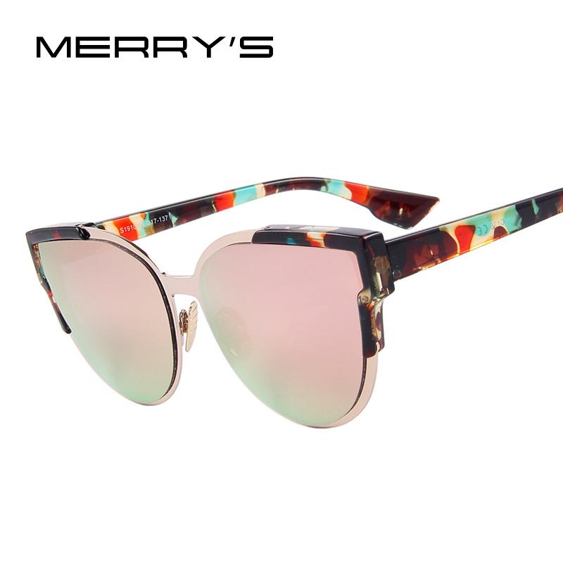 MERRY'S Fashion Women Sunglasses Cat Mirror Glasses Metal Cat Eye Sunglasses Women Brand Designer Sunglasses S'8392(China (Mainland))