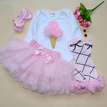 New Baby Girl Bodysuit With Lovely 3PC Sets Skirt Suit Body Pink Skirt And Headband Girls Pants Tutu Skirt Free Shipping(China (Mainland))