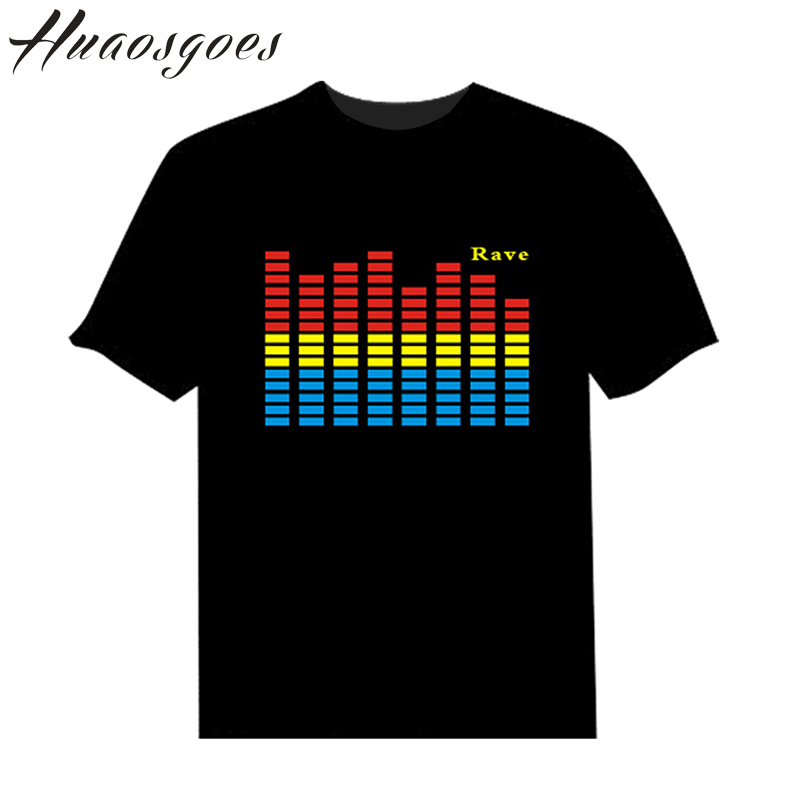 LED Sound Activated Tshirt Flash Light Up EL Equalizer LED Man T-Shirt for Bar DJ Rock Disco Fantastic(China (Mainland))