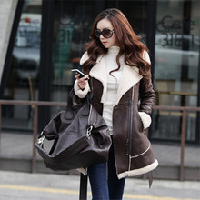genuine suede jacket women with natural fur suede coat with fur collar for women winter suede jackets and coats(China (Mainland))