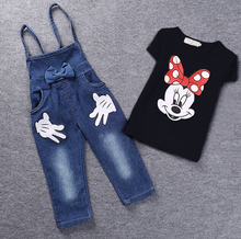 2016 summer baby girl clothes kids gils shorts denim clothing sets girls t shirts+bib denim pant 2 pieces Clothing Sets(China (Mainland))