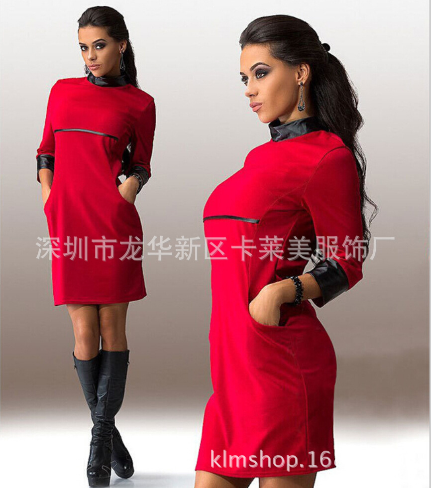 Europe Spring 2016 fashion solid color stitching round neck hedging PU leather long dress women Z033