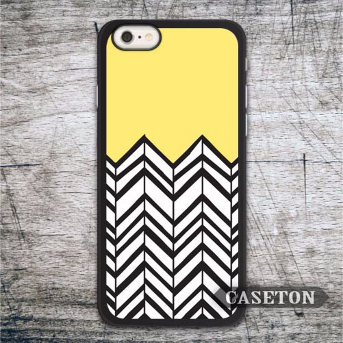 Yellow and Black Chevron Case For iPhone 7 6 6s Plus 5 5s SE 5c 4 4s and For iPod 5 Lovely Phone Cover Free Shipping Globally