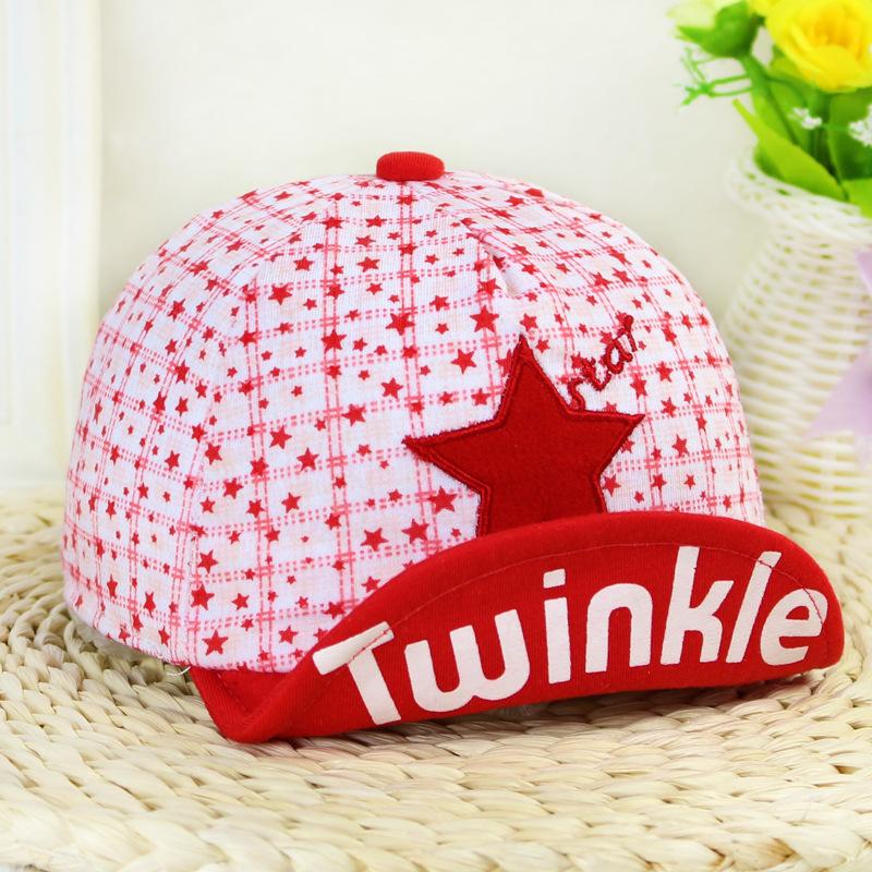 4 Colors Sunhats for Kids Twinkle Stars Infant Baby Hat Baseball Cap 0-1year Newborn Cotton Folding Brim Letter Cap LQJH047(China (Mainland))