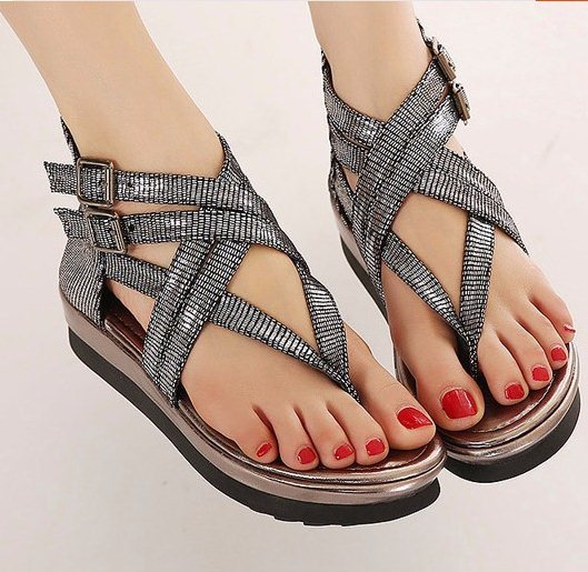 F9415 New 2015 Size 35-40 Women Fashion Cross-Strap Hasp Platform Flip-Flop Gladiator Cover Heel Bright Sandals<br><br>Aliexpress