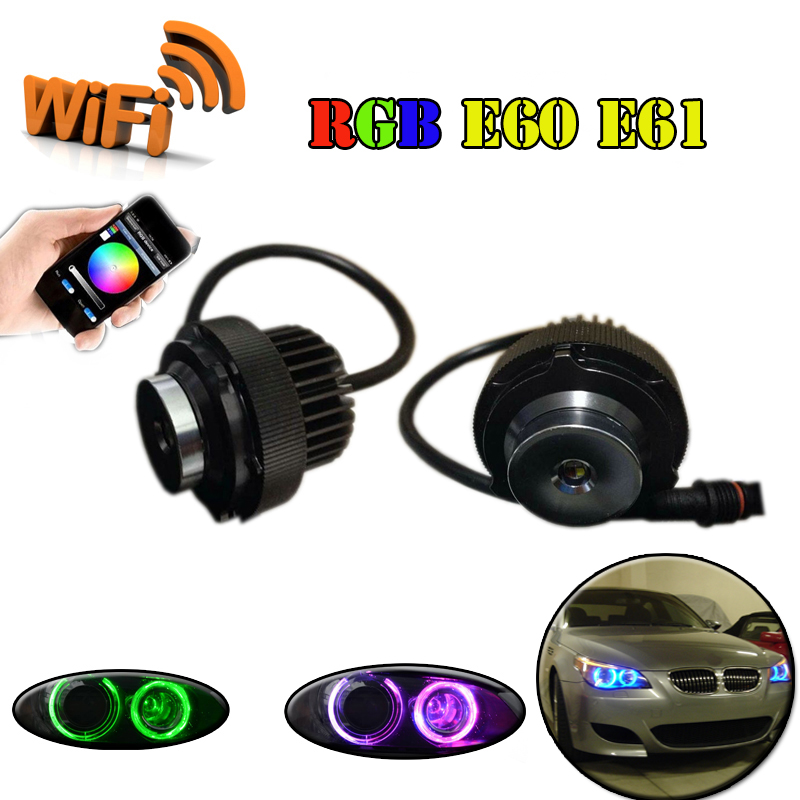 12V 2X12W canbus wifi control RGB E60 E61 LED Angel Eyes LED marker bulb halo ring for BMW E60 E61 5 series LCI 2008~2010 <br><br>Aliexpress