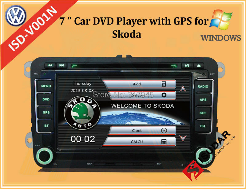Two Din 7 Inch Car DVD Player For Skoda/Octavia/Fabia/Rapid With Wifi 3G USB Host Radio GPS Bt 1080P Ipod RDS Map(China (Mainland))