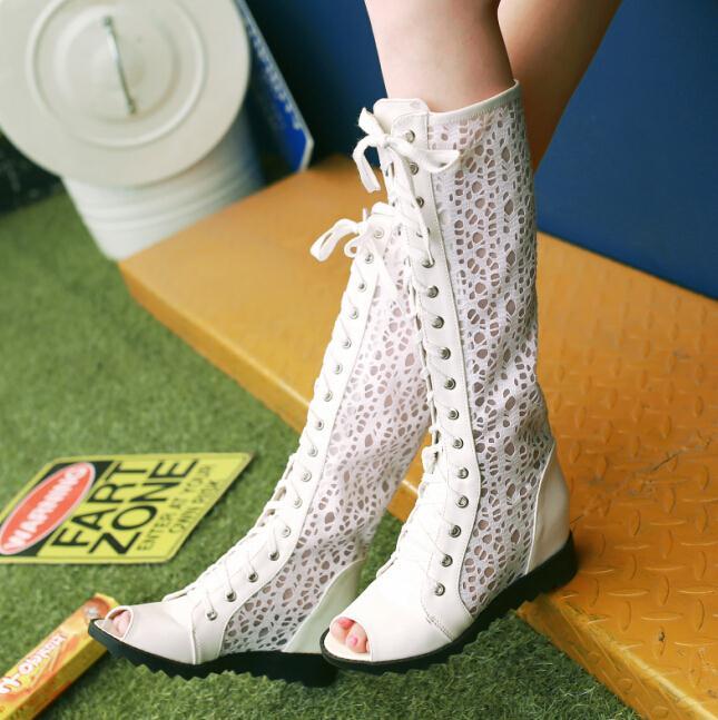 ENMAYER summer platform long boots women sandals arrival 3 colors woman hollow long boots wedges shoes for women high heel boots<br><br>Aliexpress