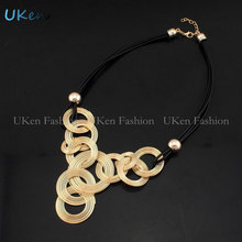 2015 New Arrival Black Leather Chain Weave Circle Metal Wire Chokers Colares Pendants Necklaces Statement Jewelry