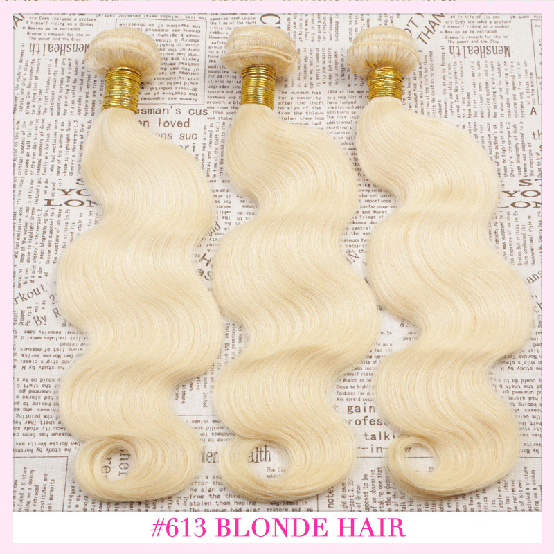 Eurasian Virgin Hair Body Wave 12-30 inches 3PCS LOT 613 Blonde Virgin Hair Ombre Hair Extensions,7 Day Return Gurantee(China (Mainland))