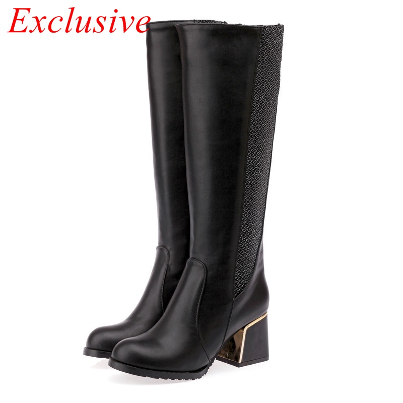 new fashion knee high boots 2015 round toe slip on casual boots woman med-heel winter boots black boots woman big size 34-47
