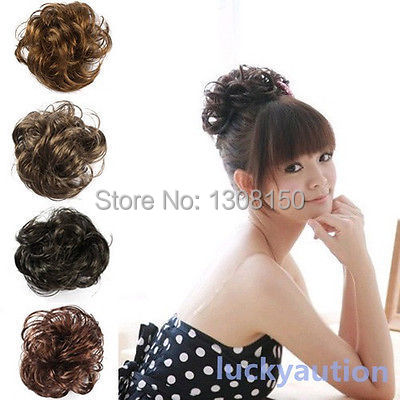 Fake Hair Extension Bride Bun Hairpiece Scrunchie Wavy Hair Pony Tail 4 Colors(China (Mainland))