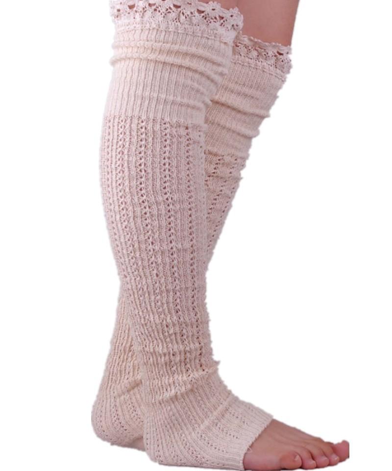 Black White Light Gray Dark Gray Khaki Knitted Cotton Lace Leg Warmers Winter Wool Leg Warmers ...