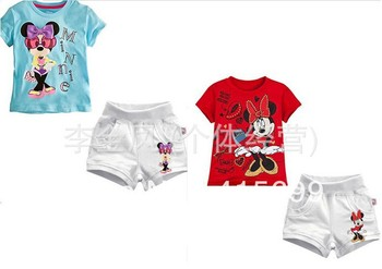 2013 Children Clothing 100% Cotton Minnie Pattern Short Sleeved T-shirt + Short Pants 2pcs Sport Casual Sets A1028