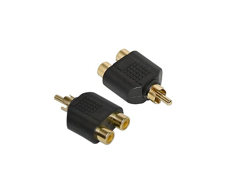 2pcs/lot Gold 1 to Phono Splitter/Joiner Adapter 2 RCA Sockets to 1 RCA Phono Plug Phono AV Audio Video Y Splitter Adaptor(China (Mainland))
