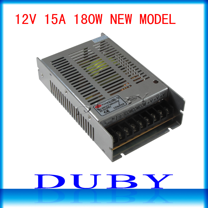 New Arrival 12V 15A 180W Switching power supply Driver For LED Light Strip Display AC100-240V Factory Supplier(China (Mainland))