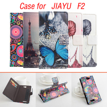 Painted Fashion JIAYU F2 case cover, Good Quality Leather Case+ hard Back cover For JIAYU F 2 cellphone With wallet