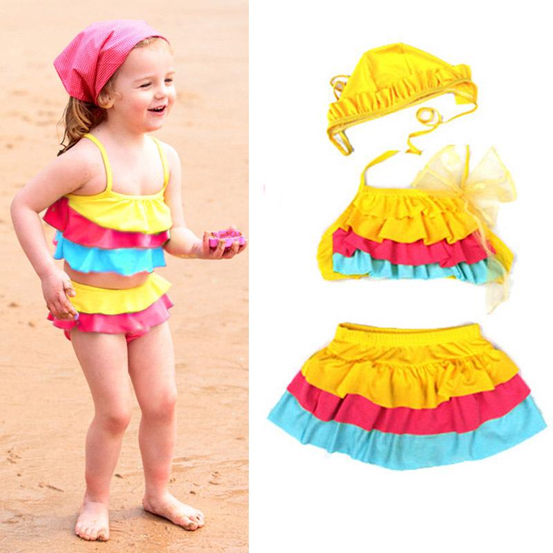 Новорожденных девочек холтер бикини раффлед купальный костюм 3 шт. купальник + юбка + шляпа купальники