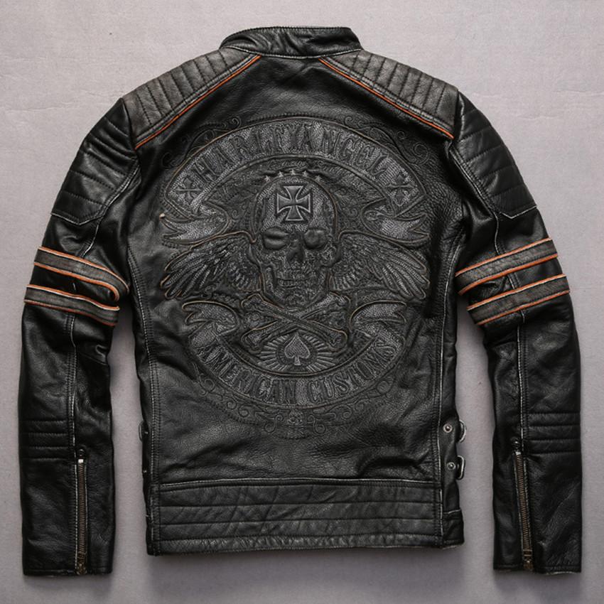 Embroidery skulls pattern vintage cowhide motorcycle jacket Punk style adjustable waist contrast color sleeve leather jacket men(China (Mainland))