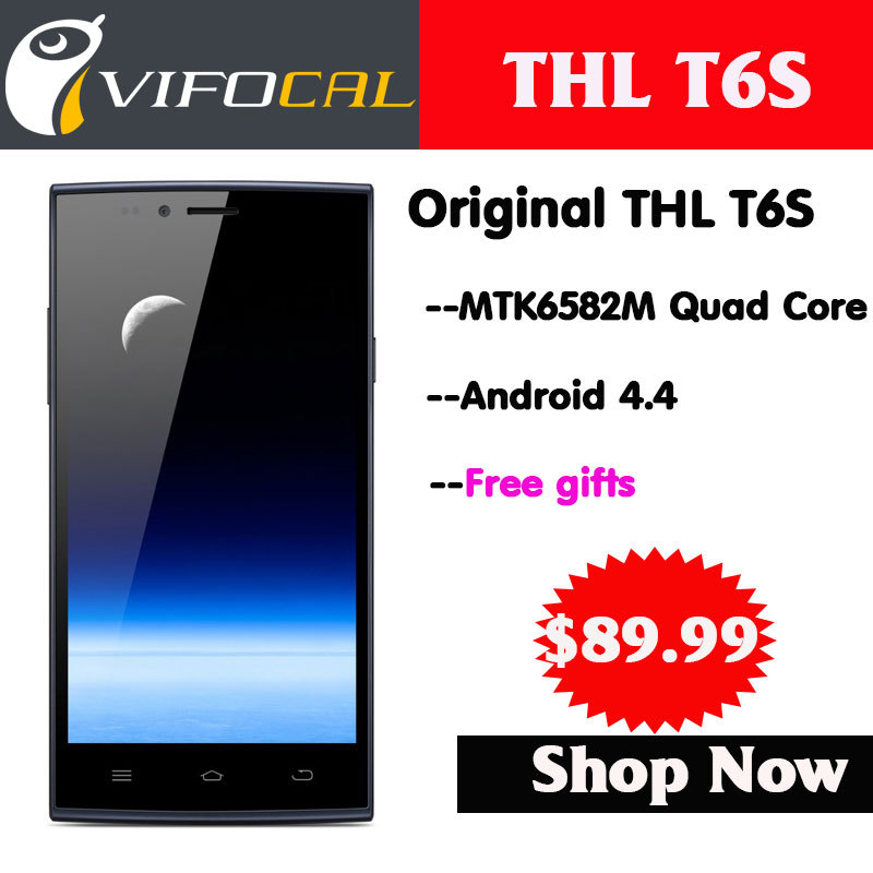 """2014 New Original Mobile Phones Thl T6S T6 Pro MTK6582M Quad Core 5.0"""" 5 inch IPS Android 4.4 RAM 1GB ROM 8GB 3G WCDMA GPS WIFI(China (Mainland))"""