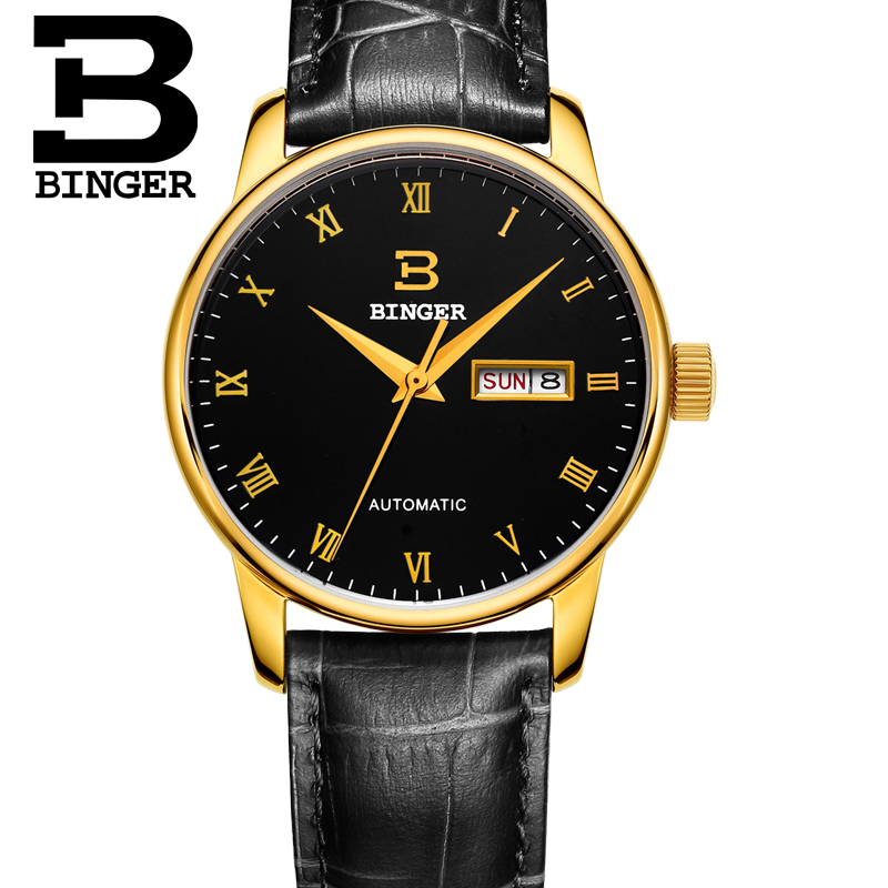 BINGER Switzerland watches men luxury brand double calendar automatic mechanical stainless steel hollow black relogio masculino<br><br>Aliexpress