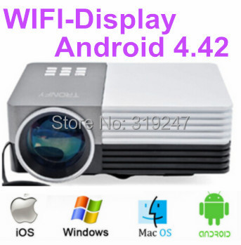 NewestAndroid 4.42 Wifi Home cinema Theater 3D 1080P HD HDMI Video LCD LED Mini Projector For Mobile Phone Iphone Ipad Tablet(China (Mainland))