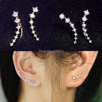 Wholesale Top Quality 2015 New Four-Prong Setting 7pcs Gold  Plated/Silver Plated Ear Hook Stud Earrings Jewelry