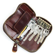 Genuine Leather Car Key Wallets Men Key Holder Housekeeper Keys Organizer Women Keychain Covers Zipper Key Case Bag Pouch 8128(China (Mainland))