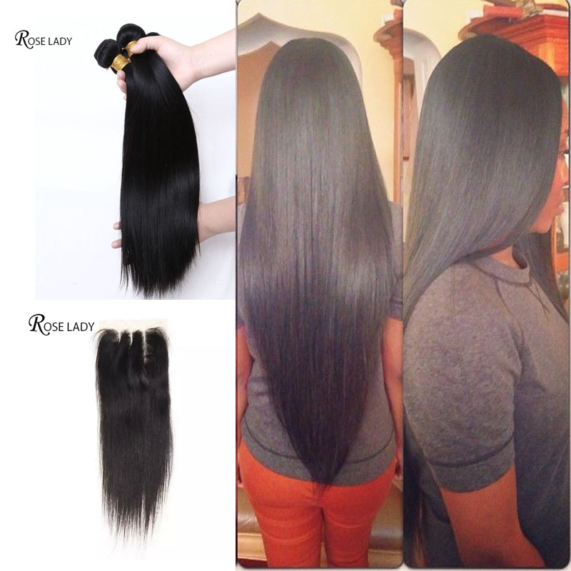 7 Peruvian Virgin Hair Straight With Closure DHL Rosa Hair Products 4*4 Lace Closure With 3 bundles Peruvian Straight Human Hair<br><br>Aliexpress