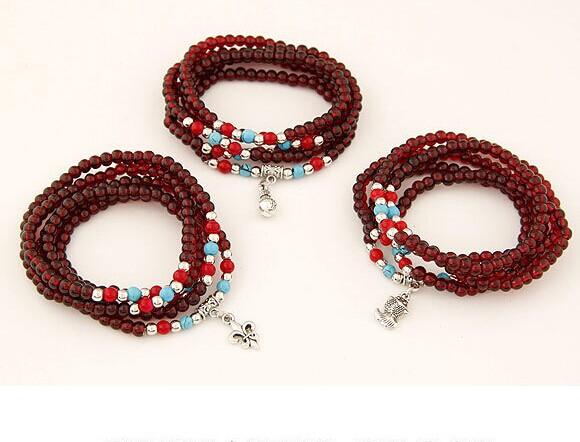 Handmade vintage jewelry cross pendant Artificial garnet bead elastico bracelet women accessories wholesale/pulseiras femininas(China (Mainland))