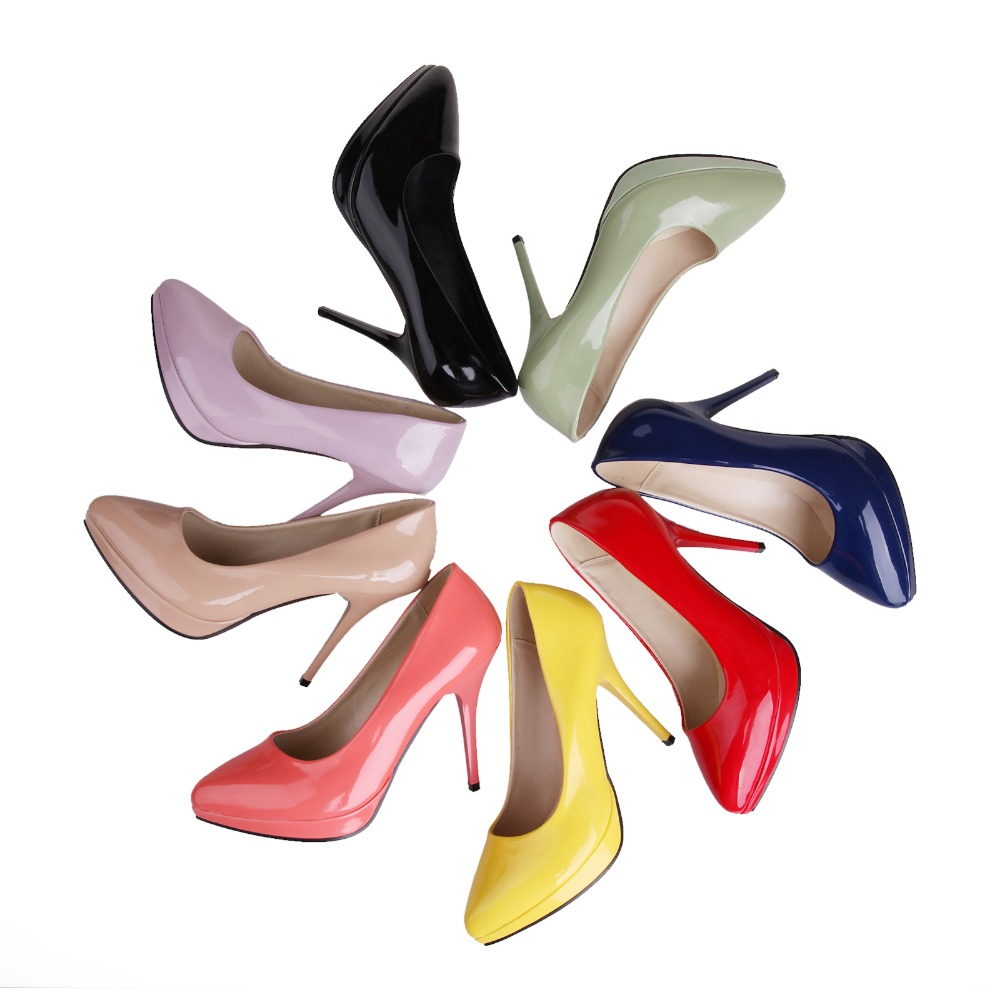 Classic Women Pumps Red Bottom Pointed Toe Thin Heels Pumps Black Red Pink Green Purple Yellow Beige Blue Shoes Woman Plus Size<br><br>Aliexpress