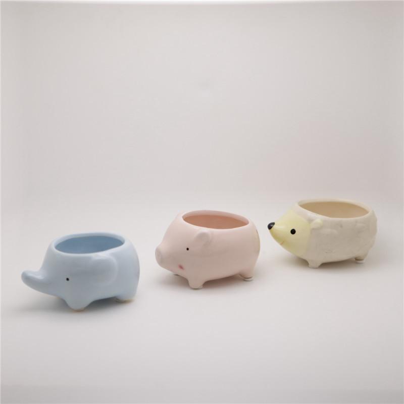 Kawaii Little Animals Ceramic Flowerpot Pig Elephant