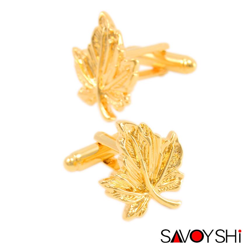 SAVOYSHI Luxury shirt cufflink for mens Cuff buttons High Quality Gold Maple leaf Cufflinks Fashion Brand Jewelry(China (Mainland))