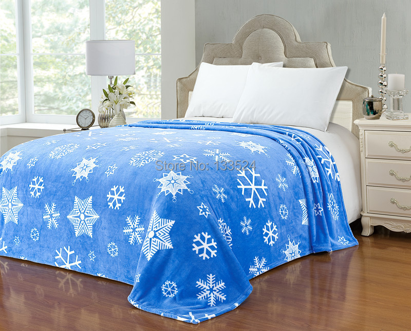 "Blanket Super Soft Warm Snug Plush Fleece Sofa Couch Lounge Bed Blue White Snowflake Single 60'' X 80""(China (Mainland))"
