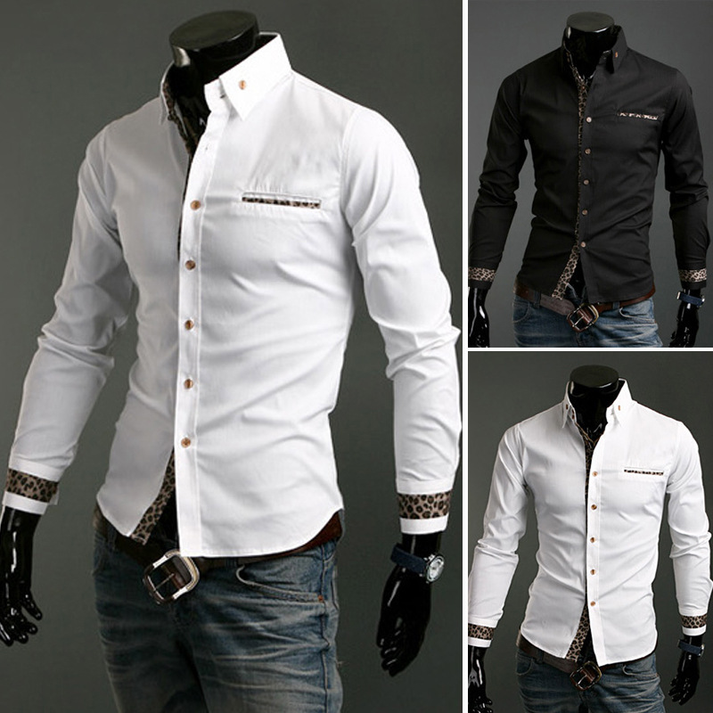 2016 Hot Mens Slim fit Unique neckline stylish Dress long Sleeve Shirts dress shirts 2 colors ,size: M-XXL - FEEMORE store