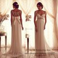 Sexy Summer Maternity Wedding Dress Chiffon Beads A Line 2015 Empire Bridal Gowns for Pregant Women
