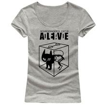 Schrodingers женщина кошка футболки с коротким рукавом о шеи новое поступление сексуальная женщина футболка низкий воротник стильный дешевые