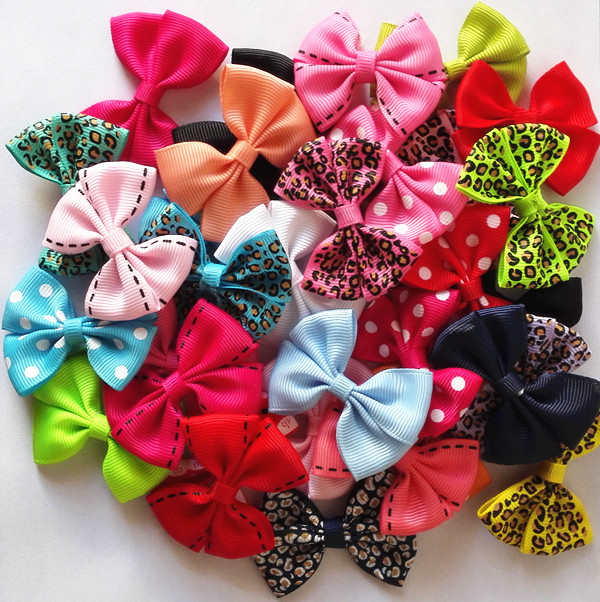 10 Pcs/lot New 2'' Candy Color Solid/ Dot/ Leopard Print Bow Hairpin