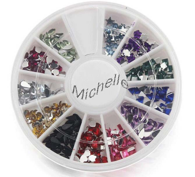 2015 2mm Assorted Colors Round Glitter Nail Art Decorations Wheel Rhinestones 6 - hong dai's store Kids factory outlets