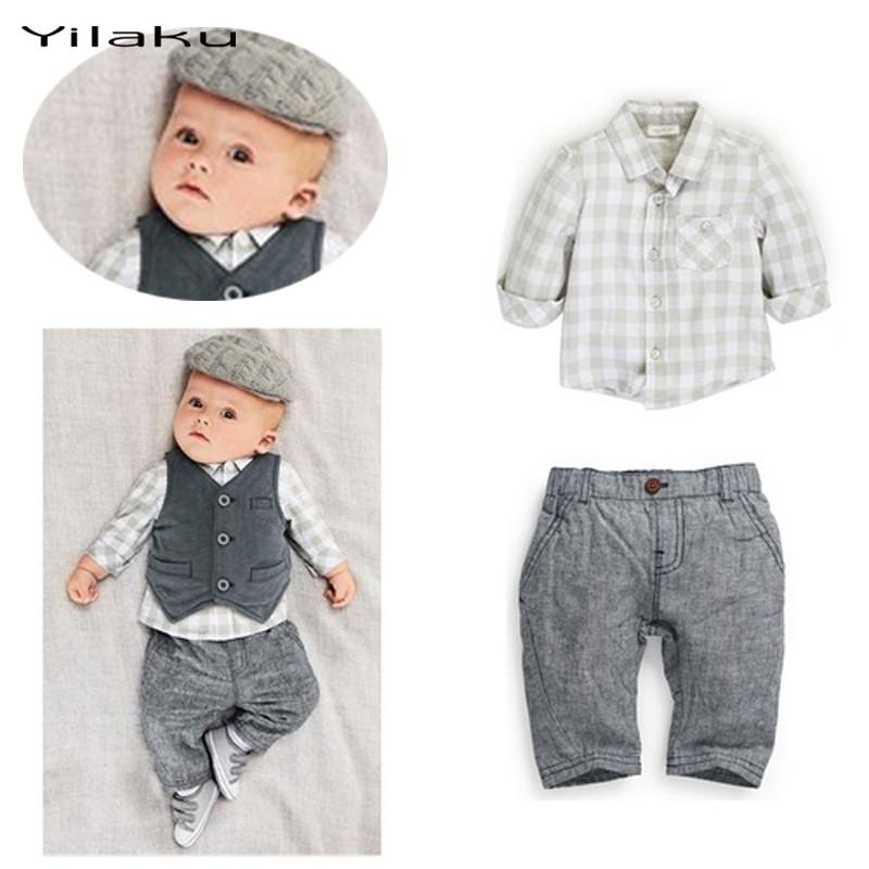 2016 Baby Boy Clothes Set Long Sleeve Plaid Shirt+Vest+Pants 3 PCS Suit Baby Boys Clothing Sets Newborn Infant Clothing CF357(China (Mainland))
