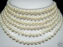 handmade Beautiful 7-8mm white freshwater pearl Chokers necklace pearl Jewelry fashion jewellery(China (Mainland))
