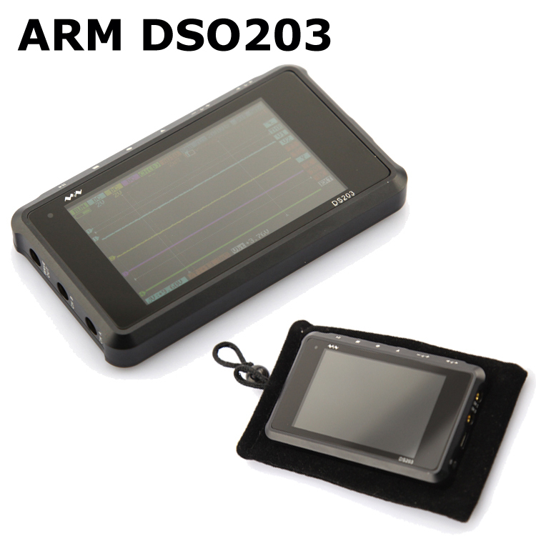ARM DSO203 Pocket Digital Oscilloscope with ARM Cortex M3 + black bag Aluminum alloy(China (Mainland))
