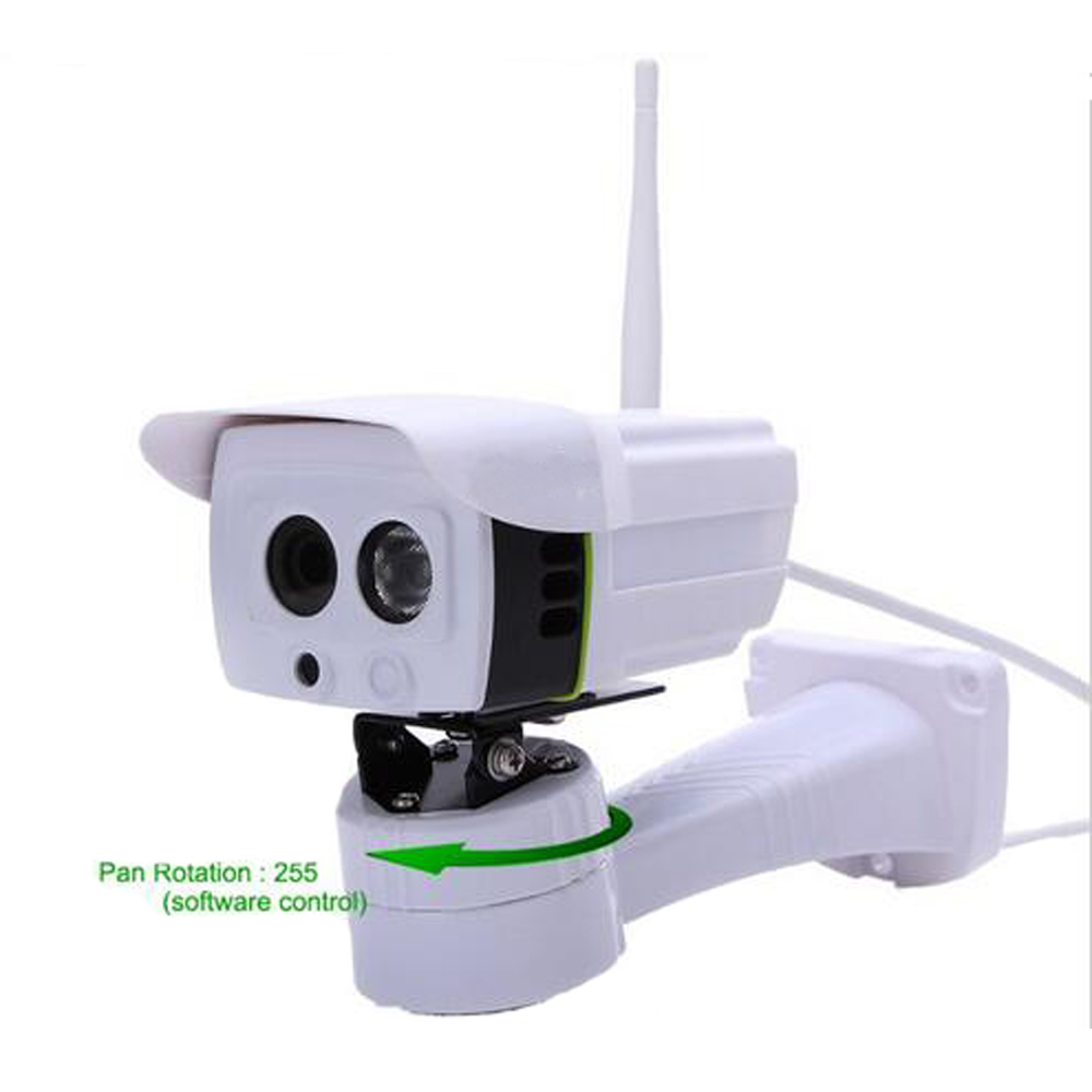 Wireless Outdoor IP Camera Pan Rotation Control by Software ONVIF 720P 1.0 Megapixel with Micro SD Slot Array IR Night Vision(China (Mainland))