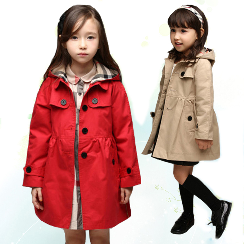 2-11T British Girls Outerwear Coat Children Trench Autumn Outwears Kids Jackets red/khaki winter Coats Girl Clothing<br><br>Aliexpress
